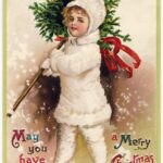 child on victorian christmas card