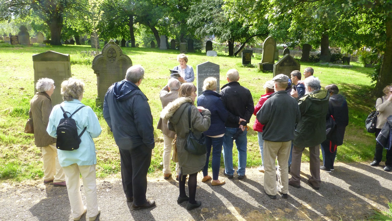 people meeting for a local history talk at gateshead east cemetery